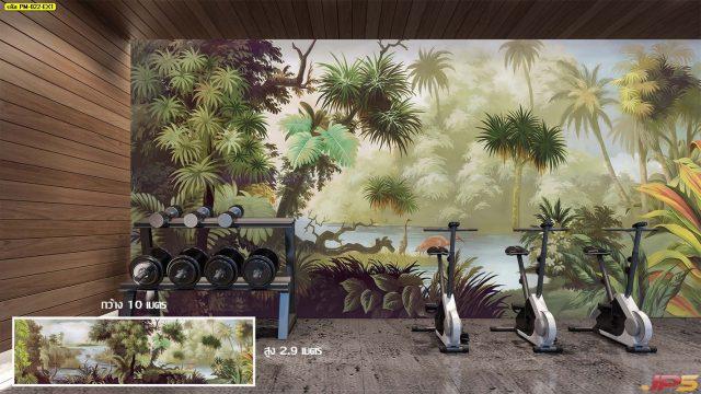 Wallpaper สั่งทำราคาถูก ลายสวนป่า tropical ตกแต่งภายในบ้านหรู