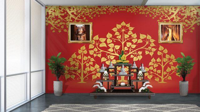 แต่งบ้านสวยด้วยวอลเปเปอร์ติดผนัง ลายไทยต้นโพธิ์ พื้นหลังสีแดง