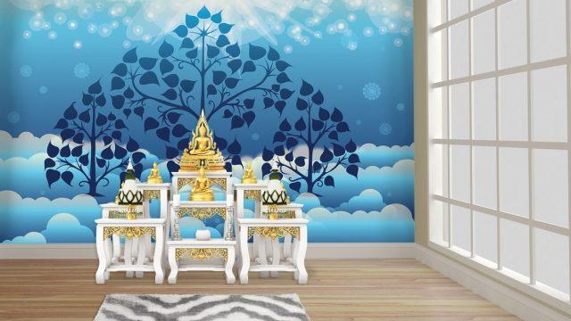 ร้านวอลเปเปอร์ ลายไทยต้นโพธิ์ พื้นหลังสีฟ้าขาว