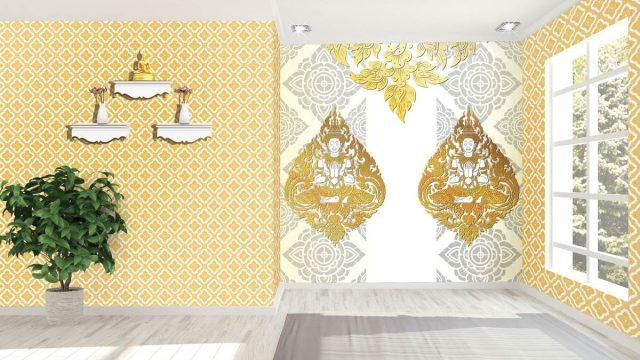 วอเปอร์เปอร์ผนัง ลายไทยกนกเทพพนมคู่ ลายประจำยาม สีทองพื้นหลังสีขาว