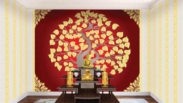 ตกแต่งห้องด้วยวอลเปเปอร์ ลายไทยต้นโพธิ์สีทอง ลายดอกดาว ลายกนกไขว้ช่อหางโต พื้นหลังสีแดง