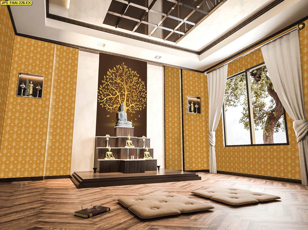 ร้านขายวอลเปเปอร์ ลายไทยต้นโพธิ์ทอง ใบโพธิ์ทอง พื้นหลังสีเหลืองทอง