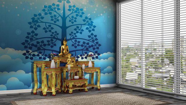 วอลเปเปอร์ห้องพระราคาถูก ลายไทยต้นโพธิ์น้ำเงิน พื้นหลังเมฆสีฟ้า