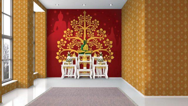 วอเปอร์เปอร์ผนัง ลายไทยต้นโพธิ์ทองพื้นแดง ลายใบโพธิ์เหลืองพื้นทอง
