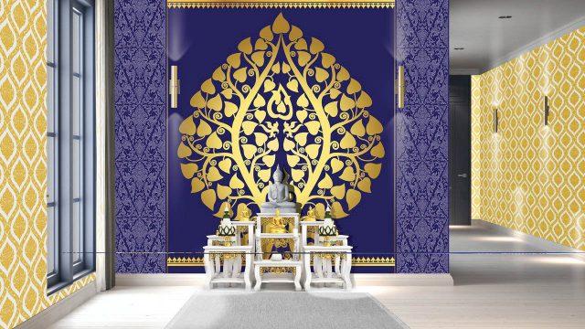 วอเปอร์เปอร์สวยๆ ลายไทยต้นโพธิ์ทองพื้นสีน้ำเงิน ลายพุ่มข้าวบิณฑ์ทองพื้นสีขาว