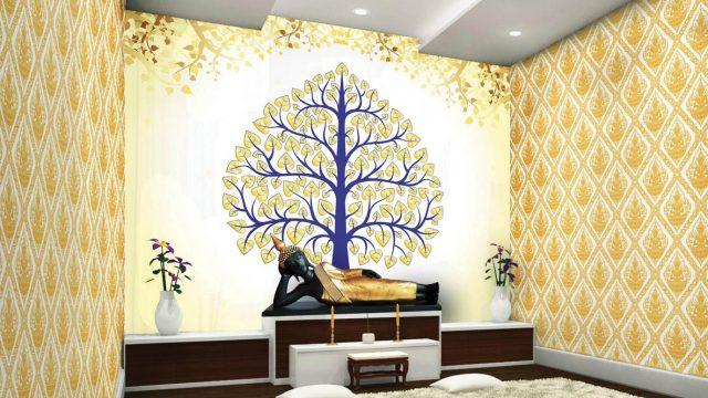 ตกแต่งห้องด้วยวอลเปเปอร์ ลายไทยกนกเทพพนม ลายต้นโพธิ์สีน้ำเงินใบโพธิ์สีทอง