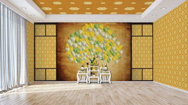วอลเปเปอร์ห้องพระราคาถูก ลายไทยต้นโพธิ์ทอง เงิน เขียว ลายพุ่มข้าวบิณฑ์ ลายดอกดาว พื้นหลังสีทอง