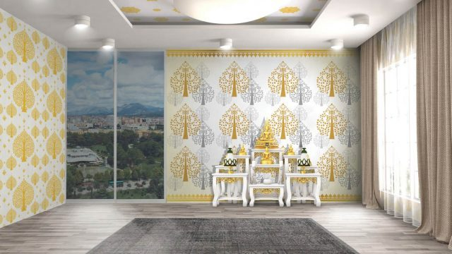 บริการตกแต่งผนังห้องพระ ลายไทยต้นโพธิ์เงิน ต้นโพธิ์ทอง พื้นหลังสีขาว