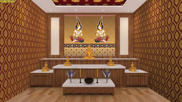 ร้านวอลเปเปอร์ ลายไทยเทพพนมคู่ พื้นหลังสีทอง