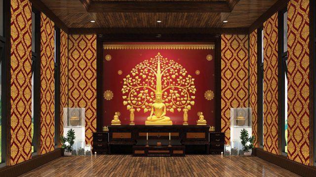 วอลเปเปอร์ห้องพระราคาถูก ลายไทยต้นโพธิ์สีทอง พื้นหลังสีแดง