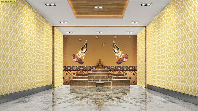 วอลเปเปอร์ห้องพระราคาถูก ลายไทยเทพพนมคู่ ลายพุ่มข้าวบิณฑ์ พื้นหลังสีทอง