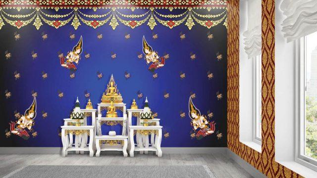 บริการตกแต่งผนังห้องพระ ลายไทยเทพพนมเล็กใหญ่ ลายพุ่มข้าวบิณฑ์ พื้นหลังสีน้ำเงิน