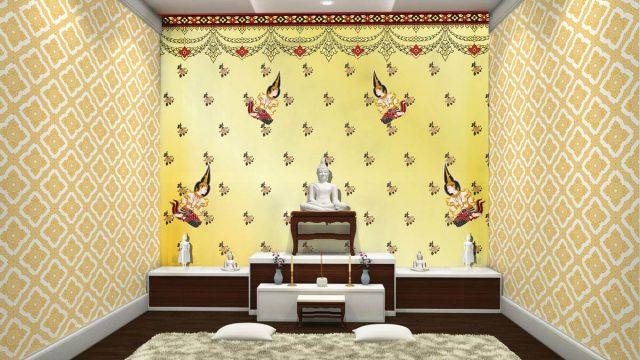 Wallpaper สั่งทำราคาถูก ลายไทยเทพพนมเล็ก ลายประจำยาม พื้นหลังสีเหลืองทอง