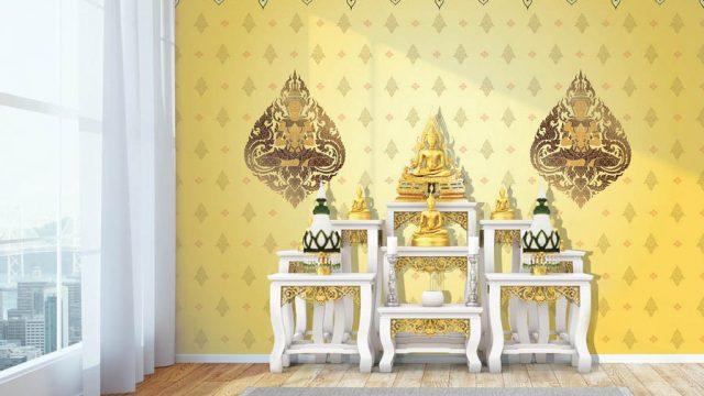 ร้านวอลเปเปอร์ ลายไทยกนกเทพพนมคู่ พื้นหลังสีเหลือง