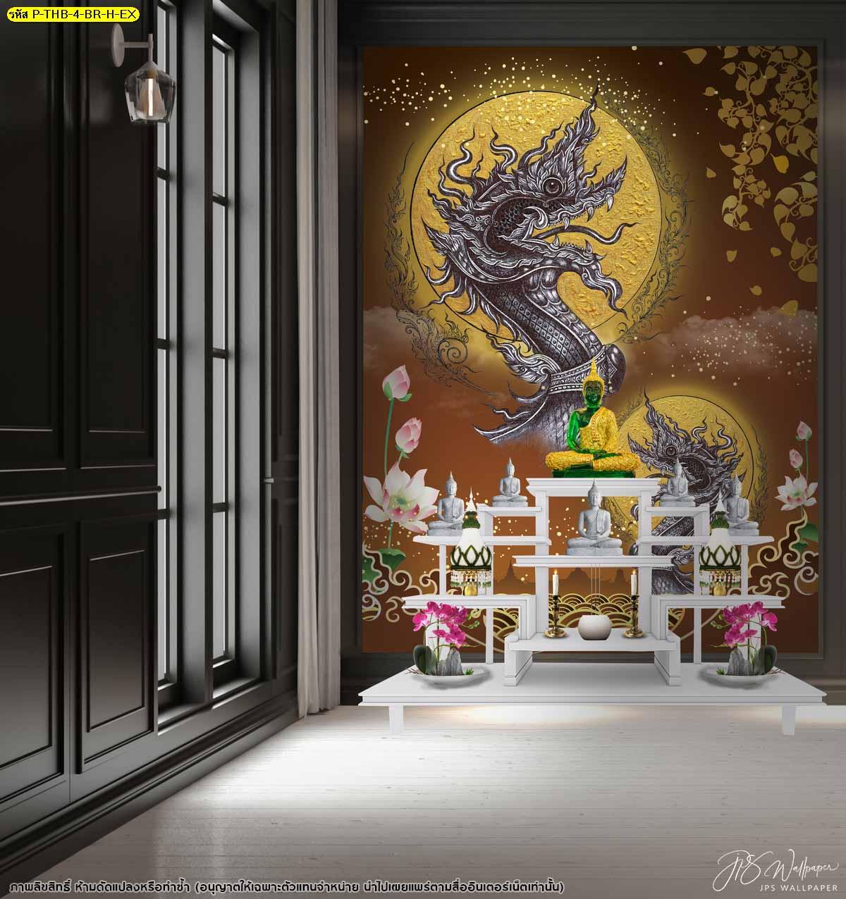 แต่งผนังบ้านด้วยภาพจิตรกรรม แบบห้องพระในบ้าน วอลเปเปอร์ลายเรียบหรู