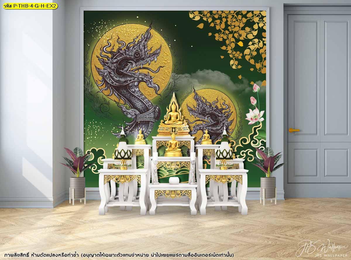 สั่งทำภาพจิตรกรรม ไอเดียห้องพระสีเขียว วอลเปเปอร์wallpaper