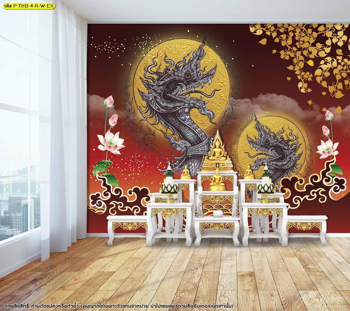 สั่งทำภาพจิตรกรรมไทย วอลเปเปอร์ห้องพระหรูๆ วอลเปเปอร์ติดผนังสบายตา