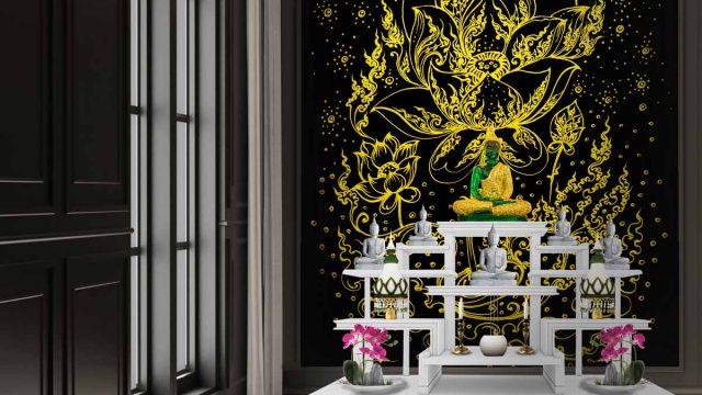 ตกแต่งห้องพระด้วยภาพดอกบัว รับทำห้องพระ วอลเปเปอร์สิริมงคล