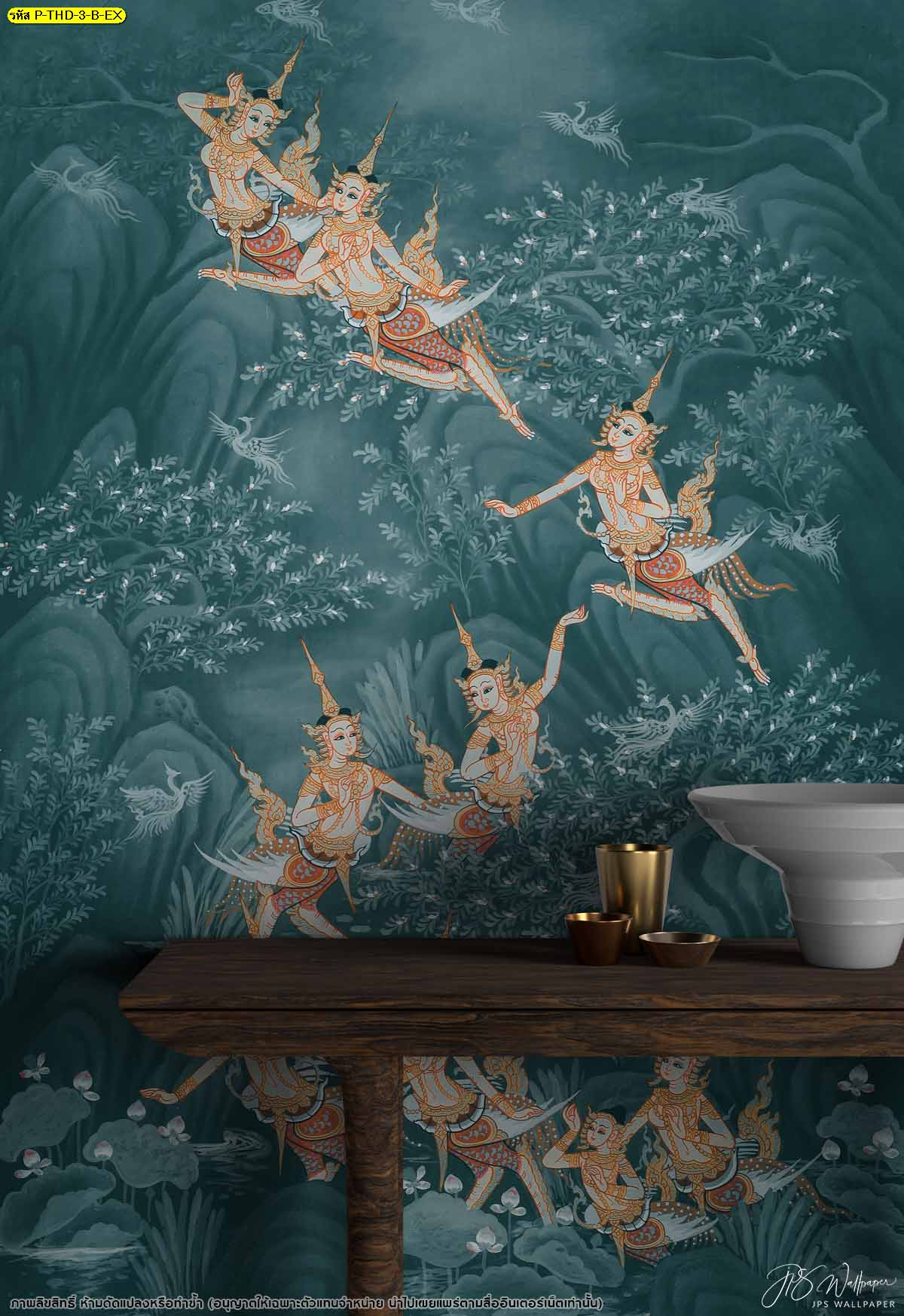 ออกแบบวอลเปเปอร์ติดผนัง แต่งผนังบ้านด้วยภาพจิตรกรรมไทย ภาพวาดฝาผนังเท่ๆ