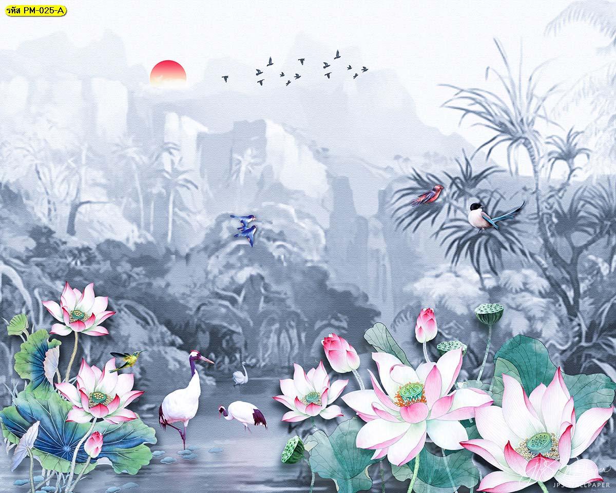 วอลเปเปอร์ติดผนังสีโทนเย็น ภาพสั่งทำนก วอลเปเปอร์ติดผนังธรรมชาติ