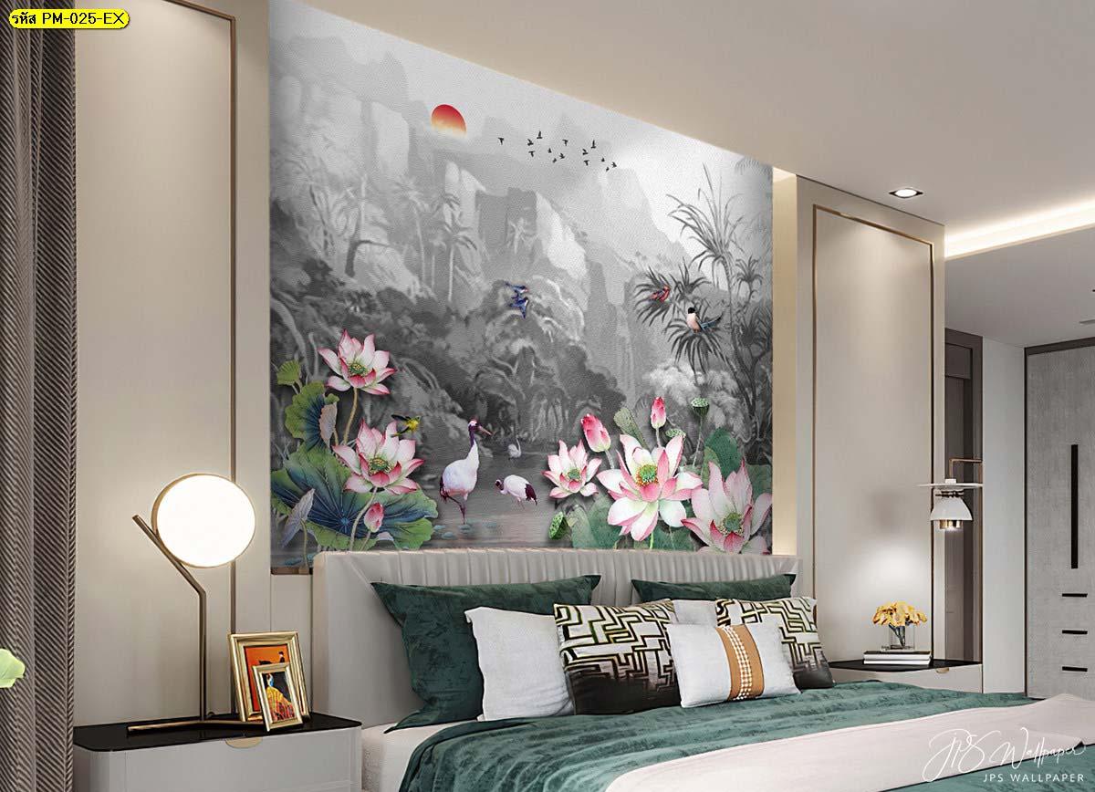 ลายวอลเปเปอร์ห้องนอน วอลเปเปอร์ติดผนังหัวเตียง Wallpaperสวยไม่ซ้ำใคร