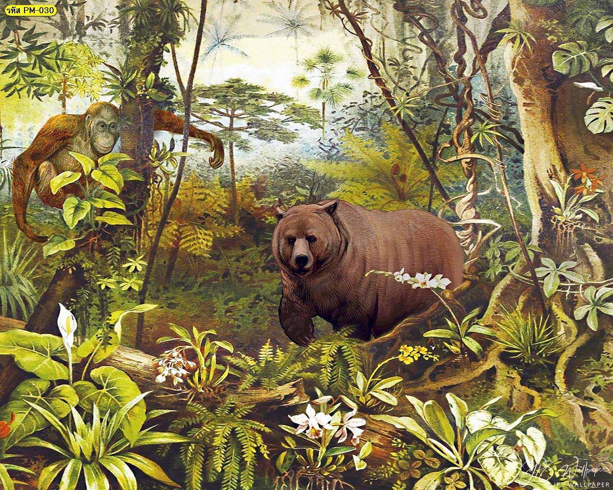 ภาพสั่งพิมพ์ลายหมี วอลเปเปอร์ติดผนังธรรมชาติ วอลเปเปอร์ติดผนังภาพป่า