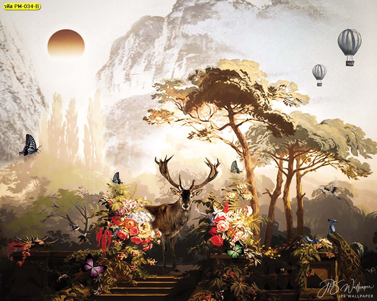 วอลเปเปอร์ธรรมชาติ วอลเปเปอร์แต่งห้องน้ำ แต่งบ้านด้วยภาพจิตรกรรม