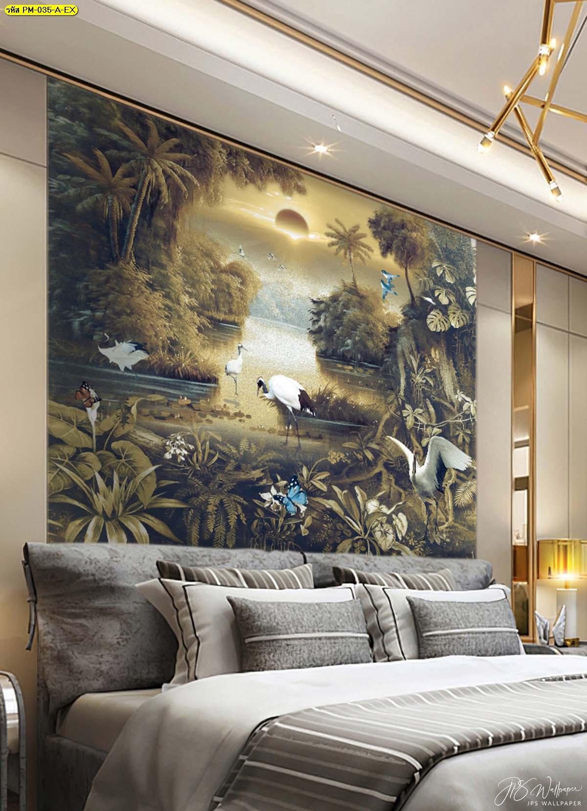 ห้องนอนสีเทาวินเทจ สั่งออกแบบวอลเปเปอร์ติดผนัง วอลเปเปอร์ติดผนังรูปป่า วอลเปเปอร์ติดผนัง
