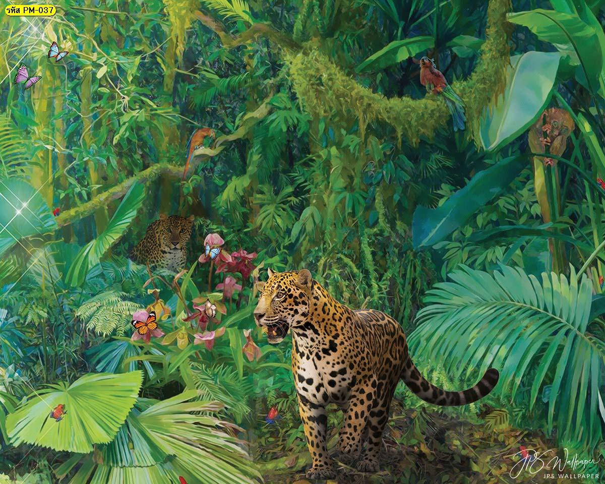 ภาพสั่งทำเสือดาว ห้องรับแขกสไตล์คลาสสิค วอลเปเปอร์ลายเรียบหรู