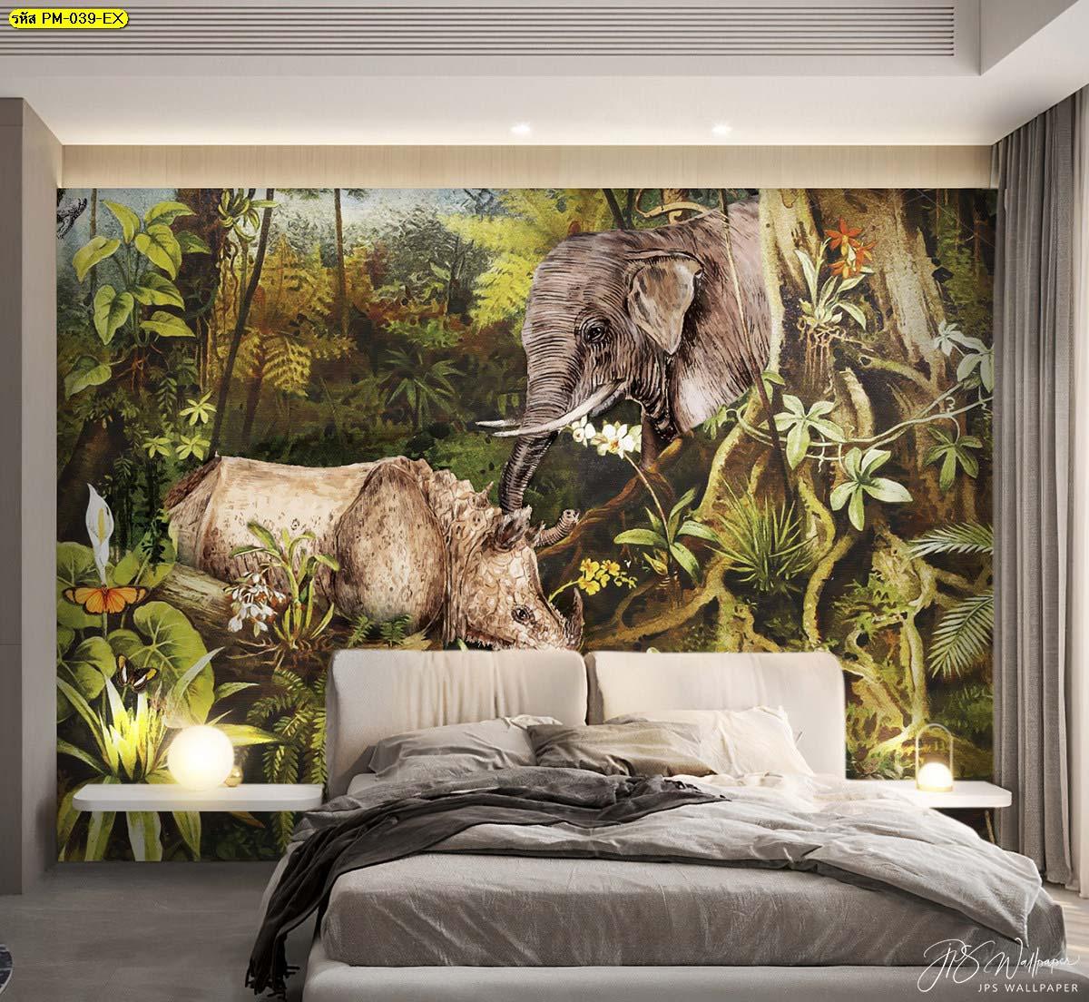 วอลเปเปอร์ติดผนังช้าง ไอเดียติดวอลเปเปอร์ห้องนอน ไอเดียการแต่งห้องนอน