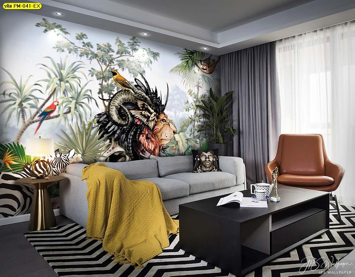 ห้องนั่งเล่นเรียบๆ วอลเปเปอร์ติดผนังสีเข้ม วอลเปเปอร์wallpaper