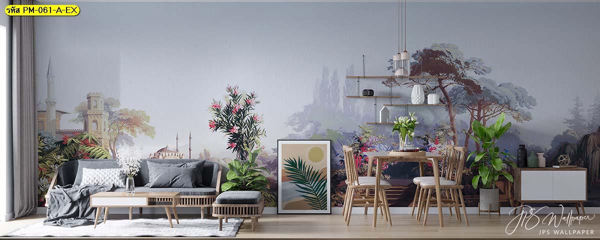 ตัวอย่างห้องนั่งเล่น มุมพักผ่อนในบ้าน วอลเปเปอร์สวยหรู