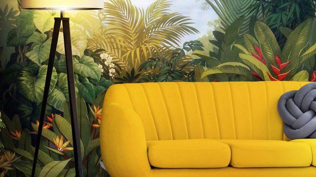 ลายวอลเปเปอร์ห้องรับแขก สั่งพิมพ์ภาพติดผนังห้องนั่งเล่น ตัวอย่างห้องนั่งเล่น