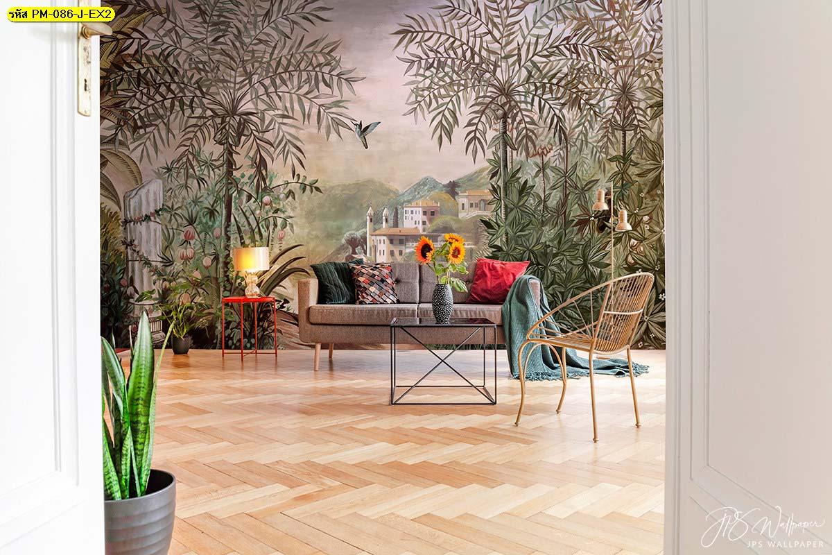 ตัวอย่างมุมพักผ่อน ห้องนั่งเล่นเรียบๆ รับออกแบบวอลเปเปอร์