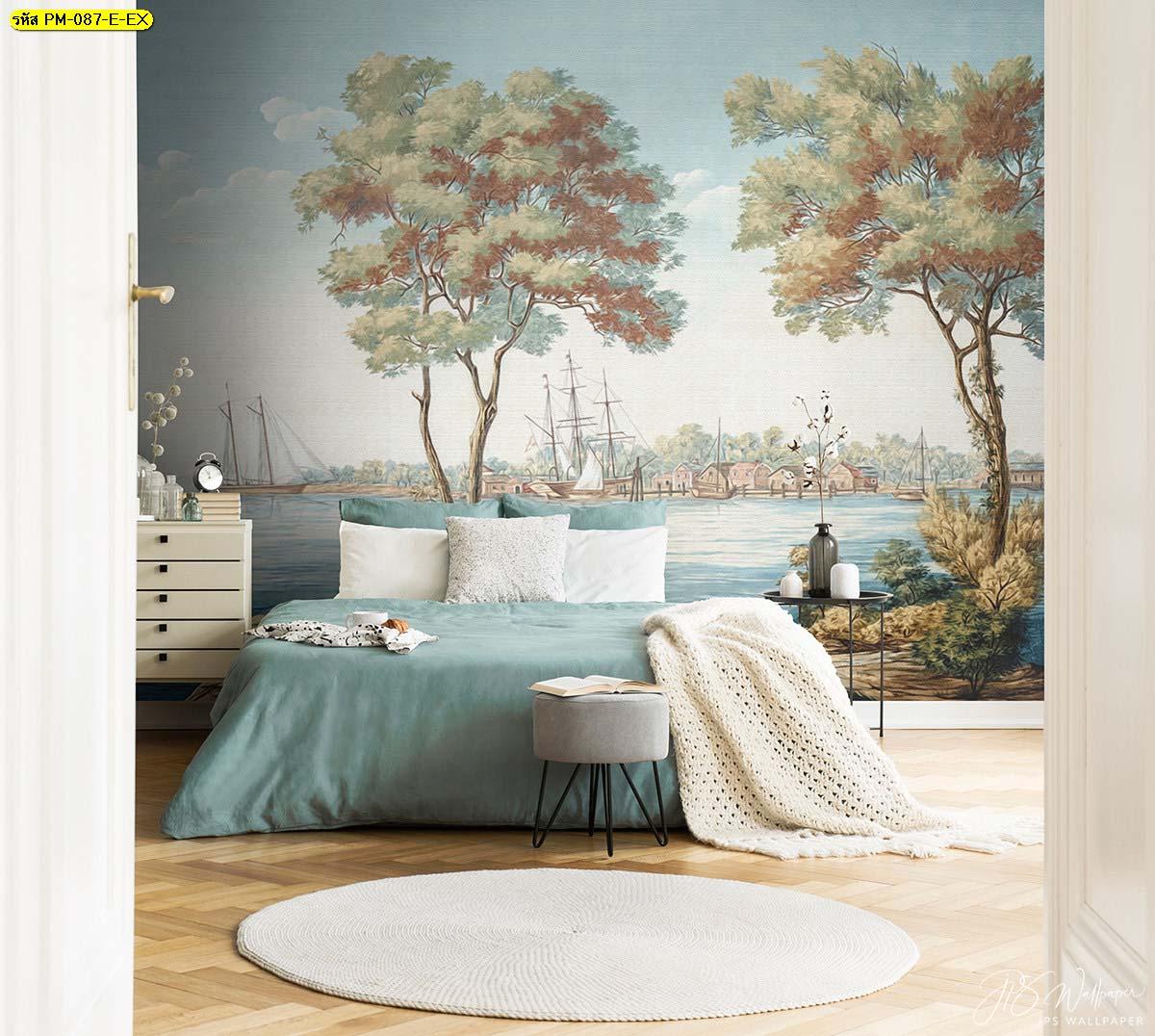วอลเปเปอร์ห้องนอนสวยๆ วอลเปเปอร์ลายเรียบหรู แต่งบ้านด้วยภาพจิตรกรรม