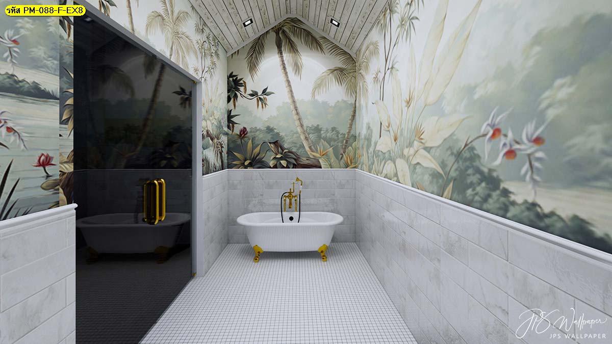 ตกแต่งผนังห้องน้ำ ไอเดียผนังห้องน้ำ แบบห้องน้ำเรียบๆ
