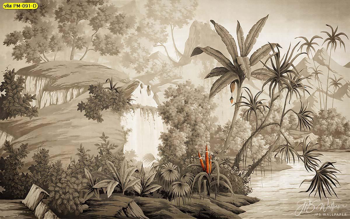 วอลเปเปอร์โทนน้ำตาล วอลเปเปอร์รูปป่า วอลเปเปอร์ติดผนังหัวเตียง