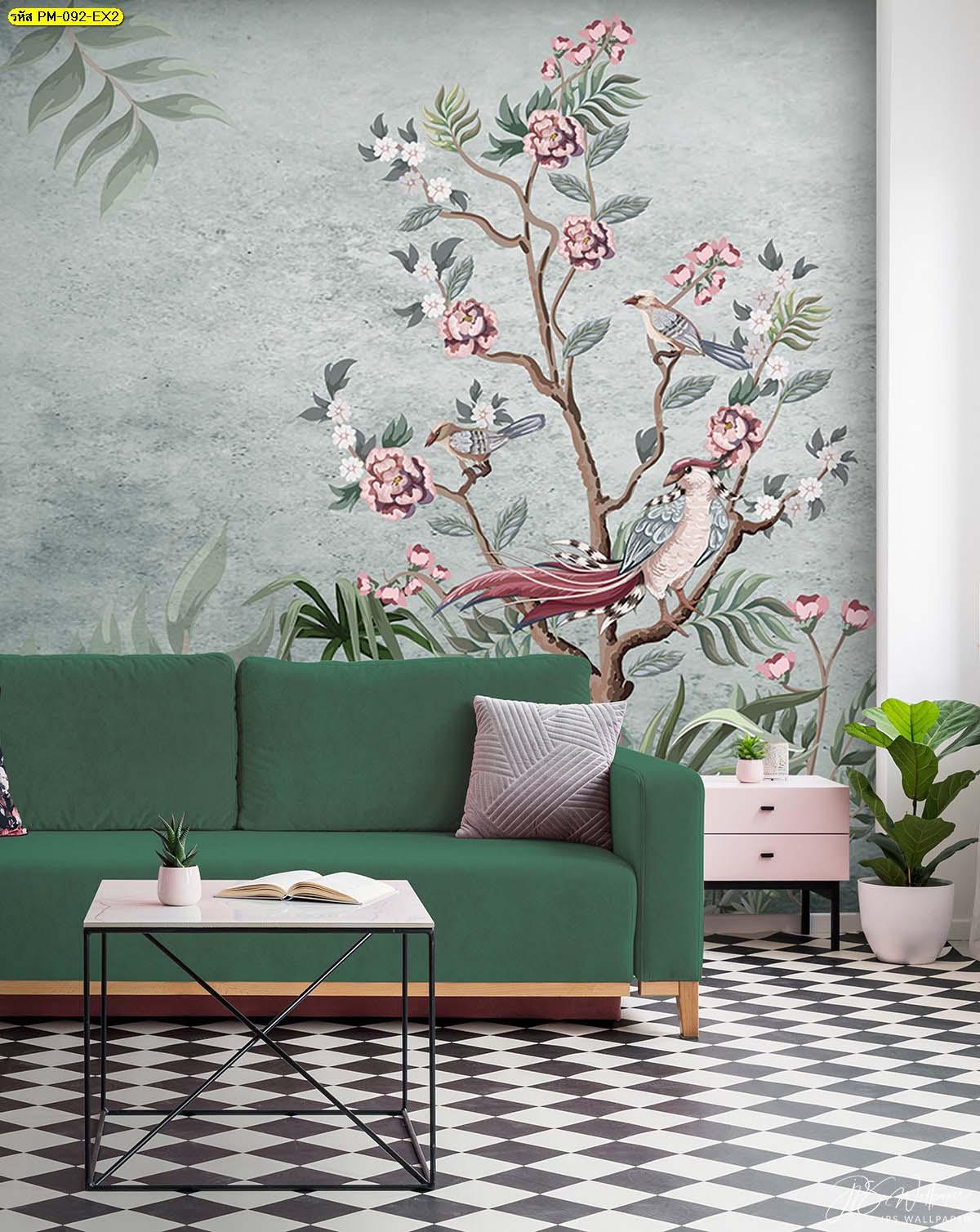 วอลเปเปอร์ห้องรับแขกโมเดิร์น ภาพสีพาสเทลอาร์ตๆ แต่งบ้านด้วยภาพจิตรกรรม