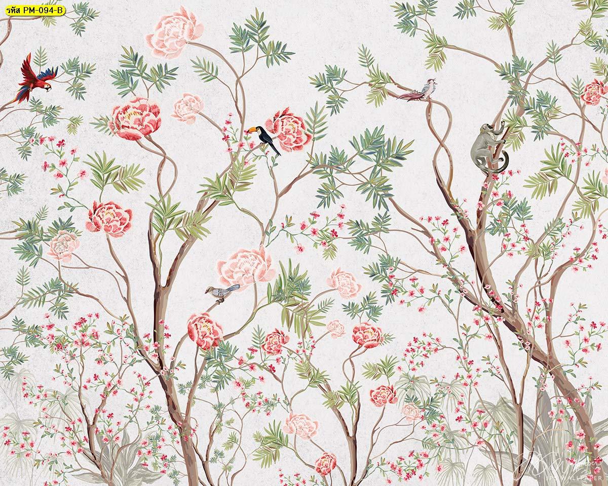 วอลเปเปอร์ลายดอกไม้เล็กๆ ภาพวาดฝาผนังบ้าน วลเปเปอร์แต่งบ้าน