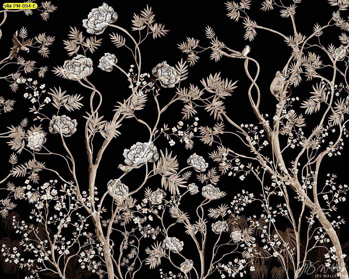 สั่งพิมพ์ภาพดอกไม้สีดำ ภาพติดผนังห้องทำงาน วอลเปเปอร์ติดผนังห้องนอนวินเทจ