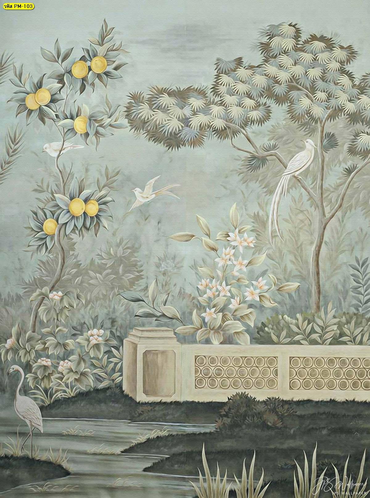 วอลเปเปอร์ลายดอกไม้วินเทจ วอลเปเปอร์ติดห้องนอน สั่งทำวอลเปเปอร์หรูๆ