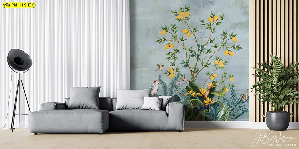 สั่งทำภาพดอกไม้ วอลเปเปอร์ลายดอกไม้วินเทจ วอเปเปอร์แต่งคอนโด
