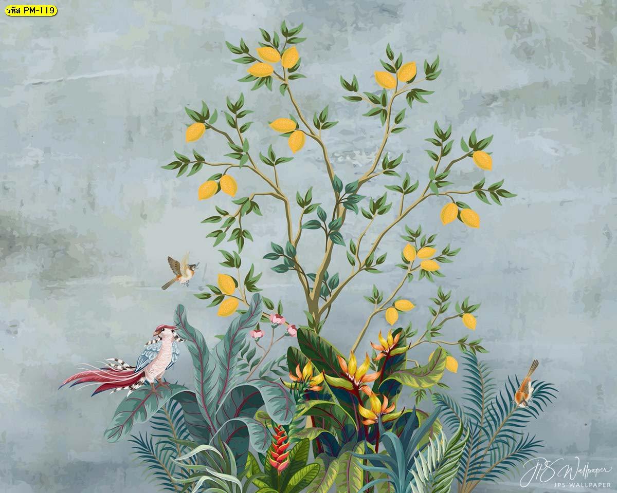 Wallpaperธรรมชาติสีเขียว สั่งพิมพ์ภาพดอกไม้สีเหลือง วอลเปเปอร์ลายกราฟฟิค