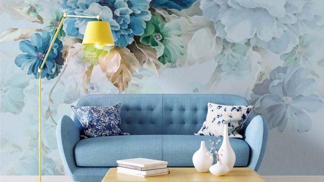 วอลเปเปอร์ติดผนังห้องนั่งเล่น วอลเปเปอร์ลายเรียบหรู วอลเปเปอร์ติดผนังดอกไม้สีฟ้า