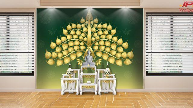 ตกแต่งห้องด้วยวอลเปเปอร์ ลายไทยใบโพธิ์ทอง พื้นหลังสีเขียว