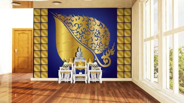 ร้านวอลเปเปอร์ ลายไทยใบพธิ์ พื้นหลังสีน้ำเงิน