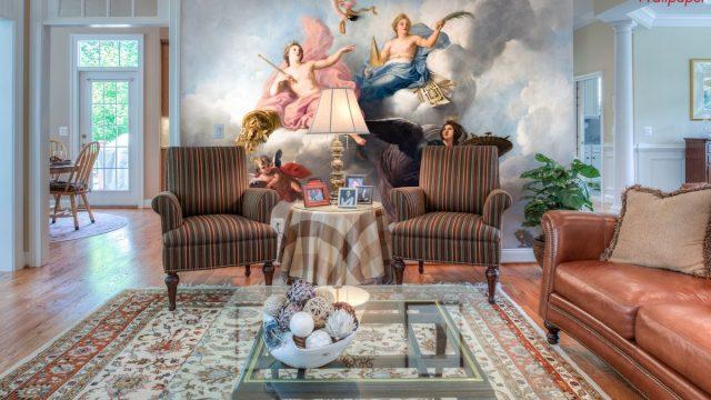 ขายวอลเปเปอร์สวยราคาถูก ติดผนัง ห้องรับแขก ลายศิลปะฝรั่ง