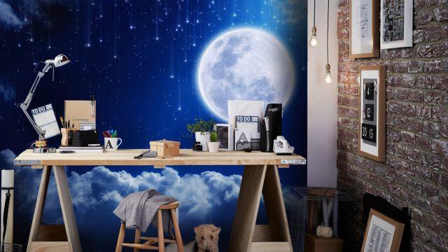 ขายวอลเปเปอร์ตกแต่งห้องทำงาน เมฆและดวงจันทร์