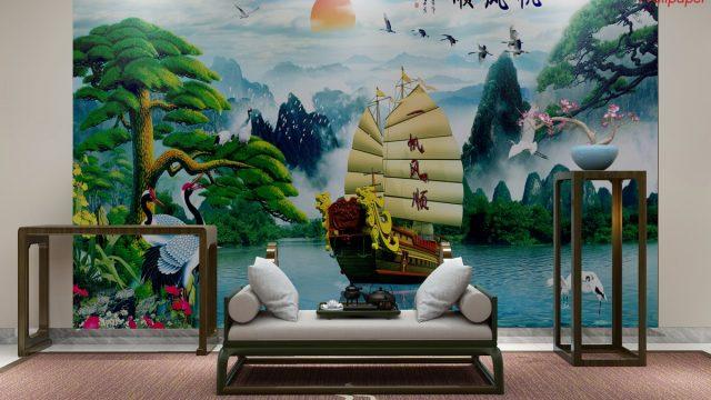 วอเปอร์เปอร์สวยๆติดผนังห้อง ฮวงจุ้ย ลายเรือสำเภาทอง
