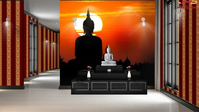 ติดวอลเปอร์สวยตกแต่งห้อง ภาพพระพุทธรูปองค์ใหญ่ในช่วงพระอาทิตย์ตกดินในประเทศไทย